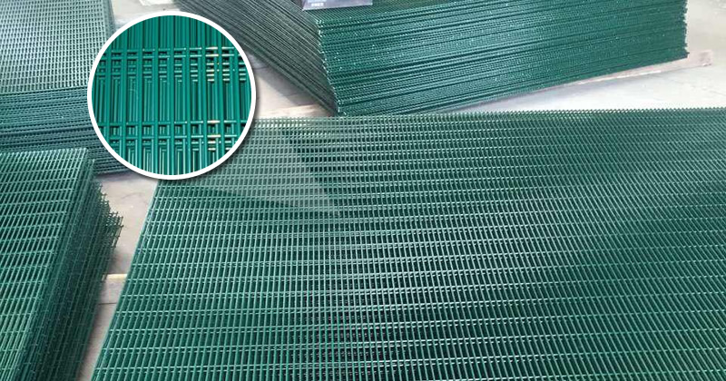 Green Coated Galvanized Mesh Fence Panels